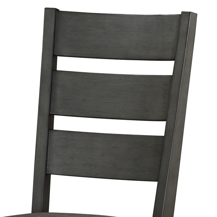 Transitional Wooden Side Chair with Fabric Padded Seat Ladder backrest,Gray