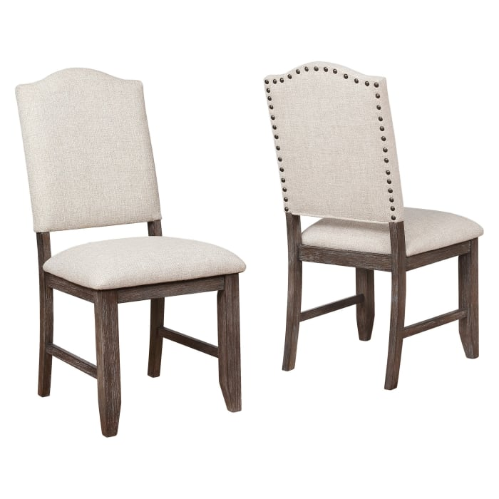Arched Open Back Side Chair with Nailhead Accents,Set of 2, Beige and Brown