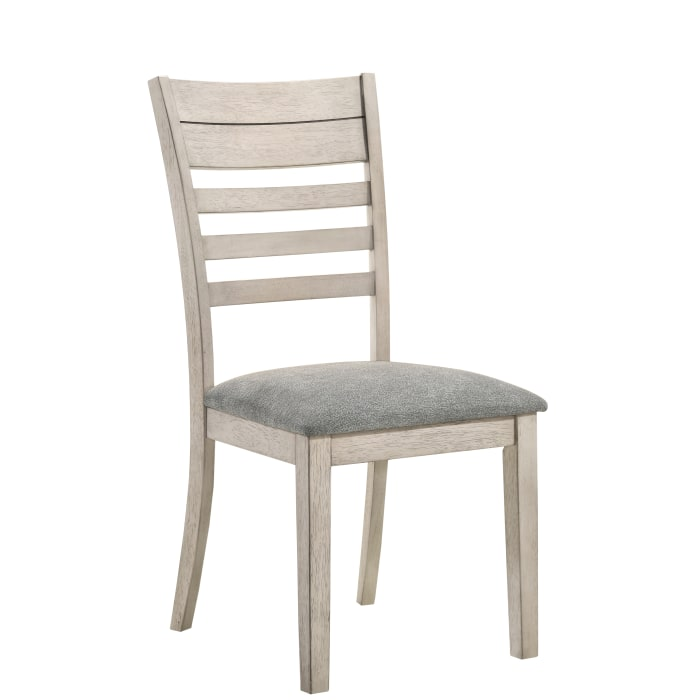 Cottage Ladder Back Side Chair with Wooden Legs, Set of 2, Antique White