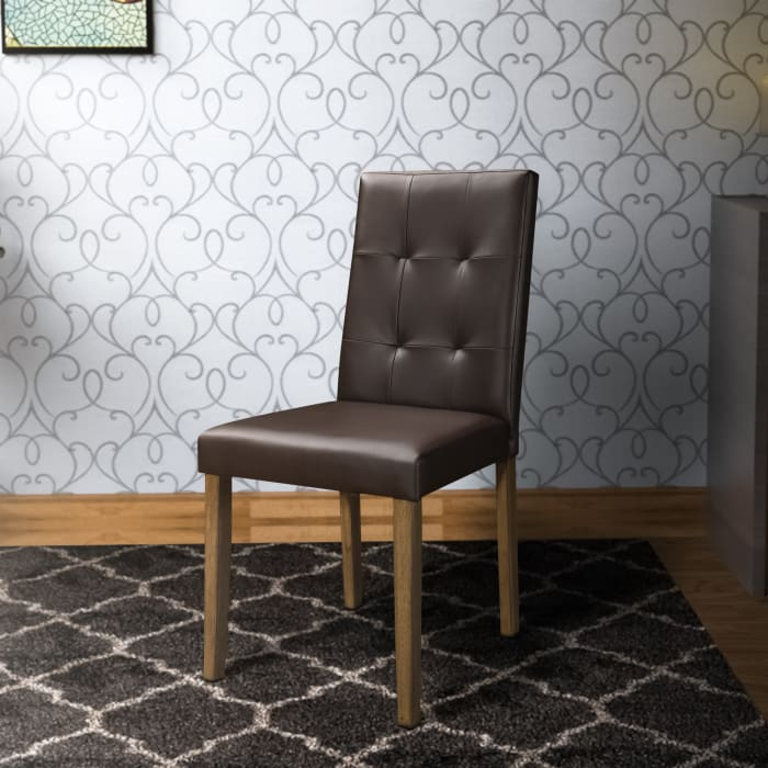 Leatherette Side Chair with Tufted Backrest, Set of 2, Espresso Brown