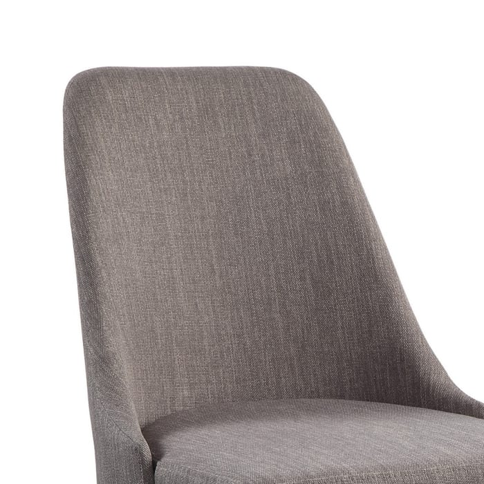 Fabric Side Chair with Curved Back and Angled Metal Legs, Set of 2, Gray