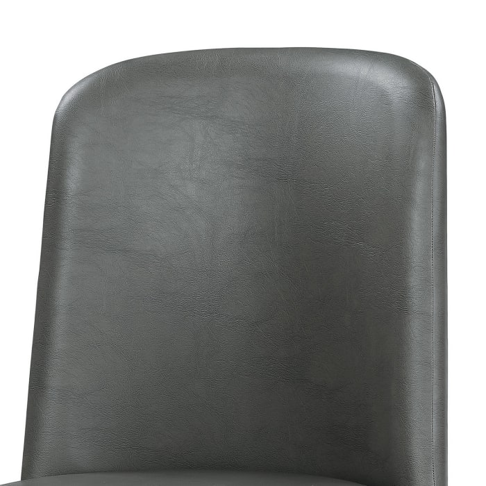 Leatherette Dining Chair with Splayed Wooden Legs, Set of 2, Gray