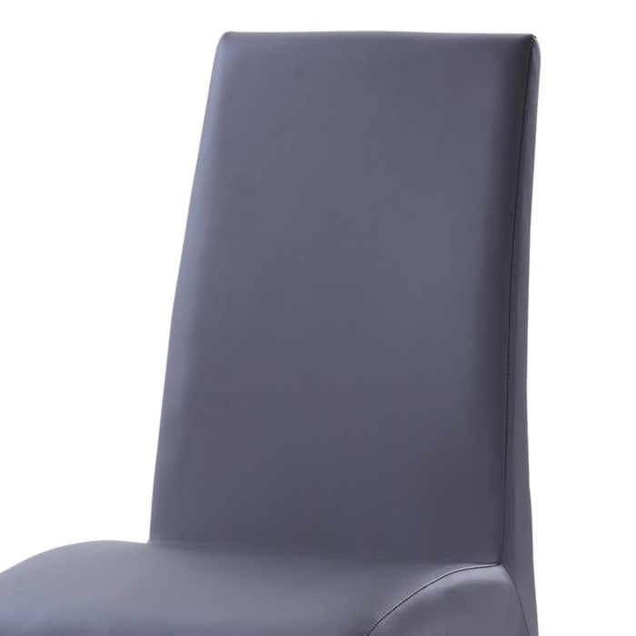 Leatherette Dining Chair with Metal Legs, Set of 2, Gray and Chrome