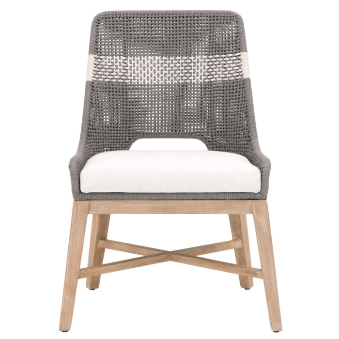 Interwoven Dining Chair with X Shaped Support, Set of 2, Dark Gray