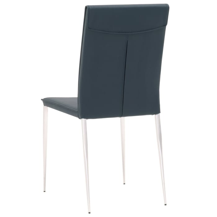 Leatherette Dining Chair with Slim Legs and Piped Edges, Set of 2,Navy Blue