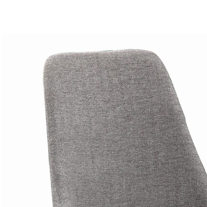 Textured Fabric Upholstered Metal Frame Dining Chair, Set of 2, Gray