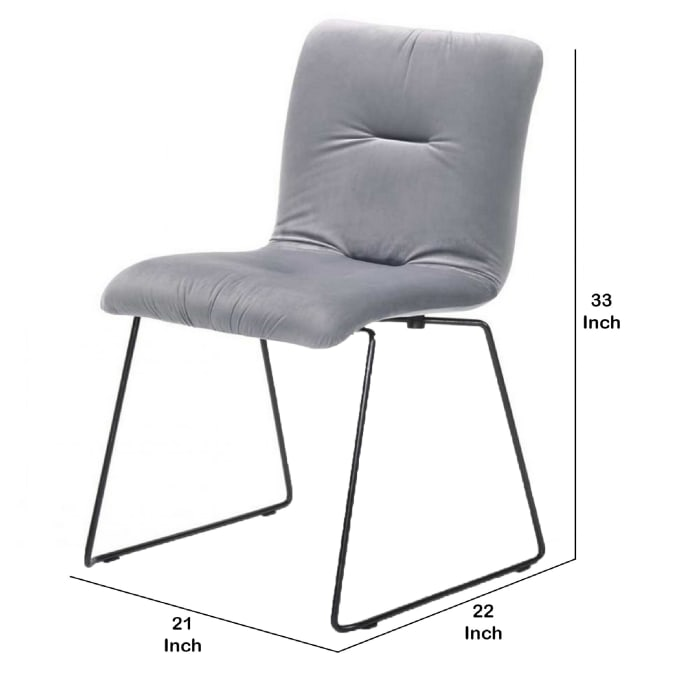 Fabric Tufted Metal Dining Chair with Sled Legs Support, Set of 2, Gray