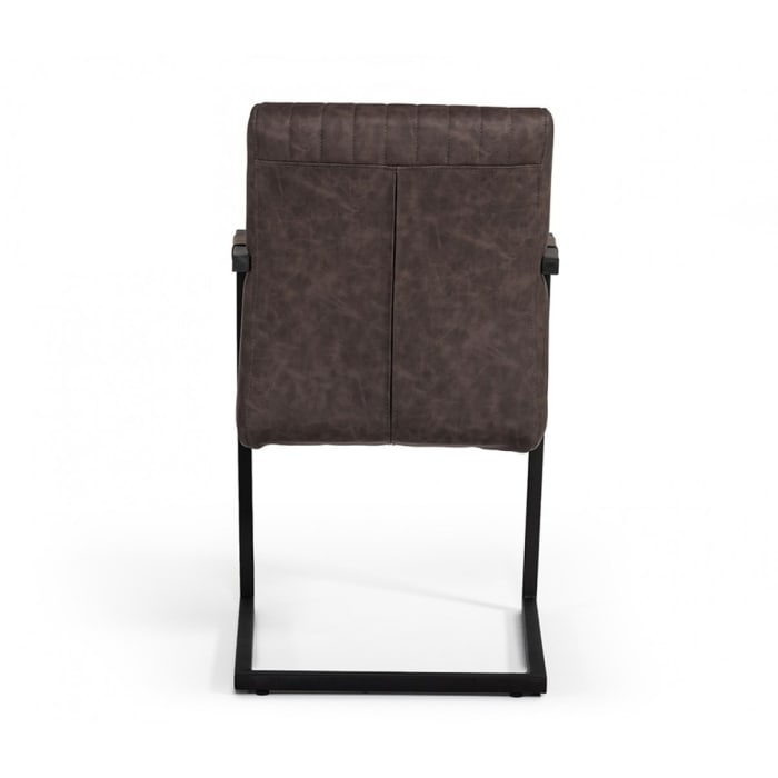 Metal Dining Chair with Cantilever Base and Vertical Stitch,Set of 2, Brown