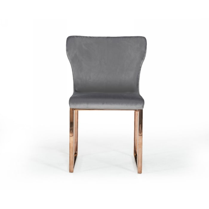 High Wing Back Metal Armless Dining Chair with Sled Base, Gray and Rosegold