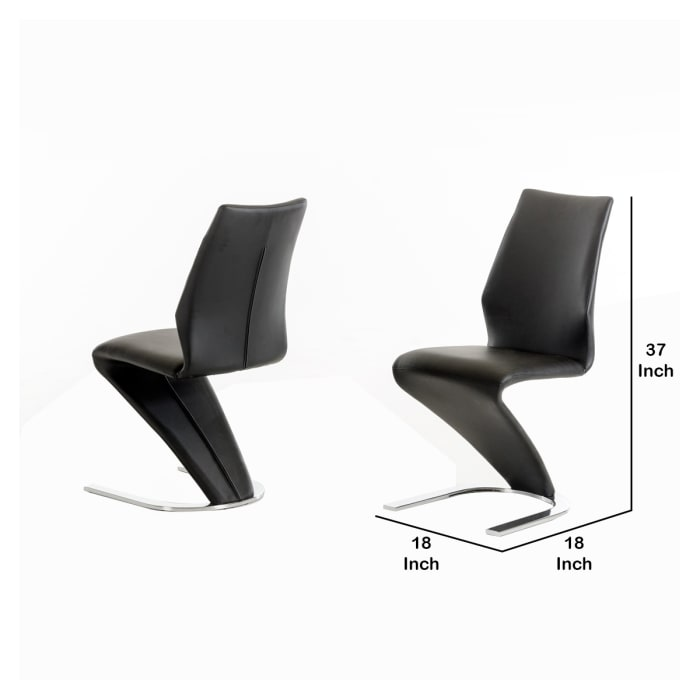 Faux Leather Dining Chair with U Shaped Base, Set of 2, Black and Silver