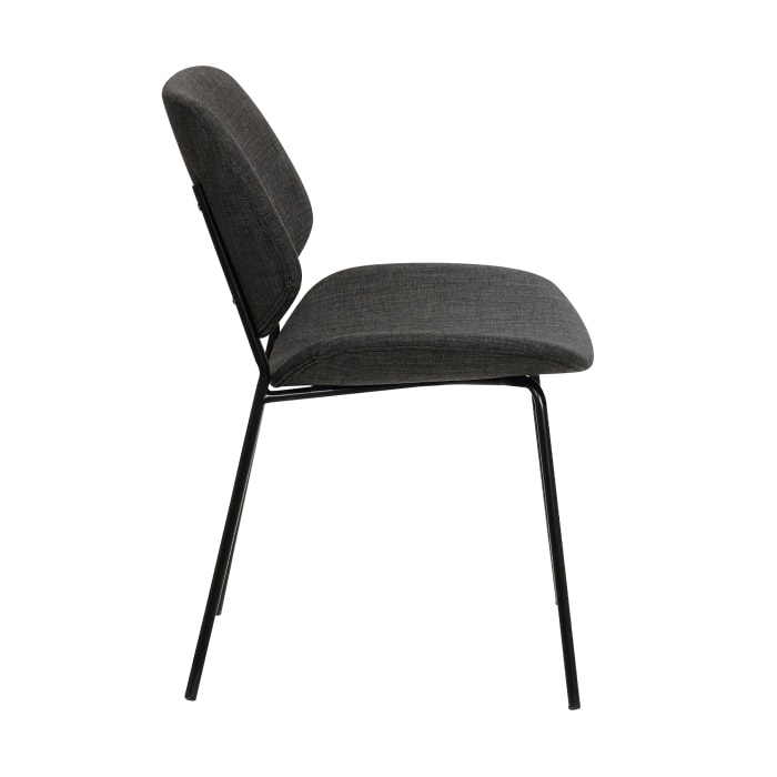 Metal Body Dining Chair with Curved Fabric Seat and Backrest, Set of 2,Gray