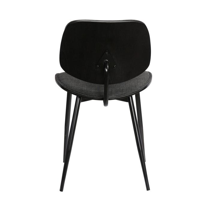 Mid Century Modern Split Back Dining Accent Chair, Set of 2, Dark Gray