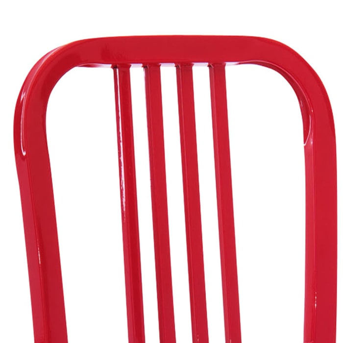 Industrial Metal Dining Chair with Slatted Backrest, Set of 2, Red