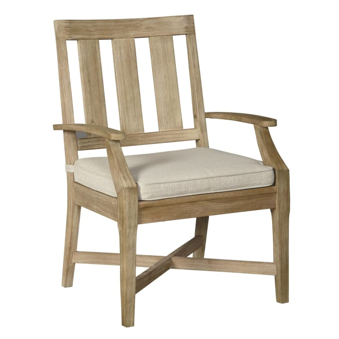 Wooden Armchair with Slatted Back and Fabric Seat, Set of 2, Beige