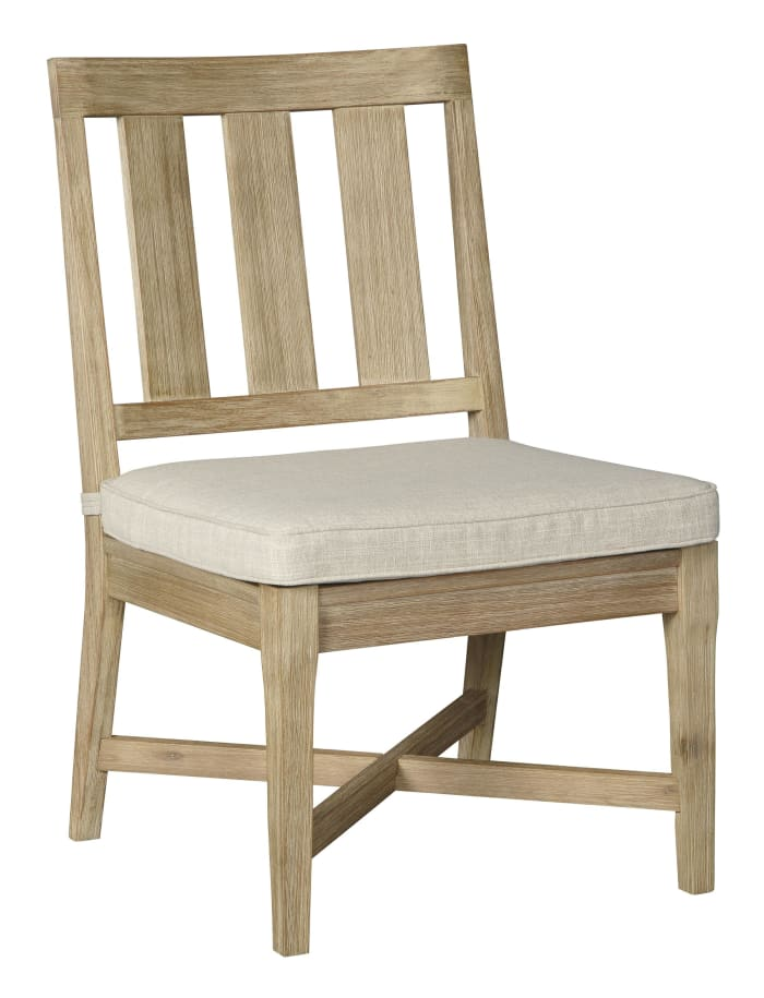 Wooden Chair with Slatted Back and Fabric Seat, Set of 2, Brown