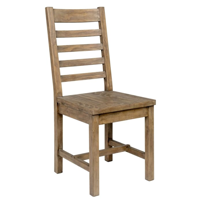 Farmhouse Wooden Dining Chair with Ladder Back, Brown