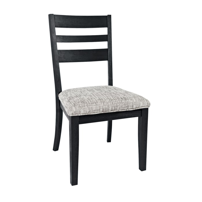 Wooden Chair with Cushioned Seat and Ladder Backrest, Set of 2, Dark Gray