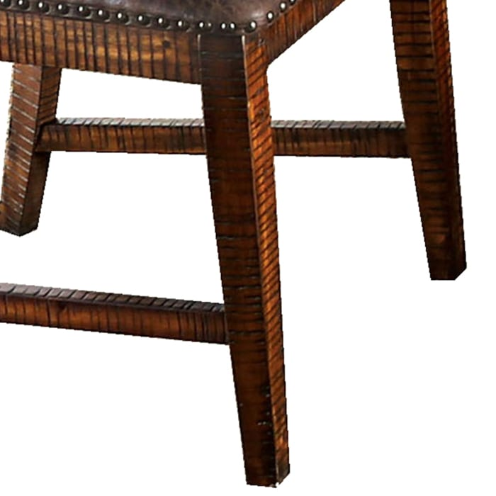 Leatherette Wooden Side Chair with Nailhead Trims, Set of 2, Brown