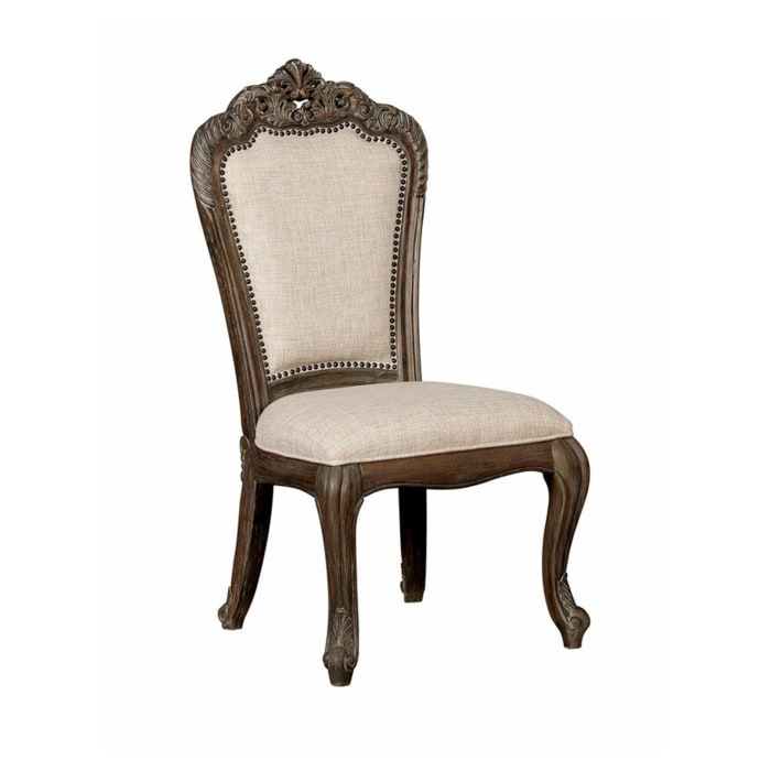 Wooden Side Chair with Nailhead Trim Details, Set of 2, Beige and Brown
