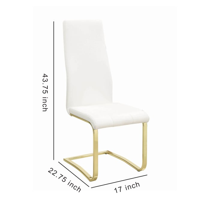 Leatherette Breuer Style Dining Chair, Set of 4, White and Gold