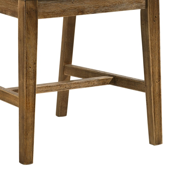 Wooden Slatted Back Side Chair with Padded Seating, Set of 2, Beige and Brown