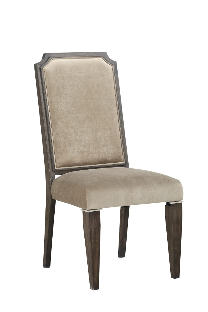 Wood and Fabric Upholstered Dining Chair, Set of 2, Brown and Beige