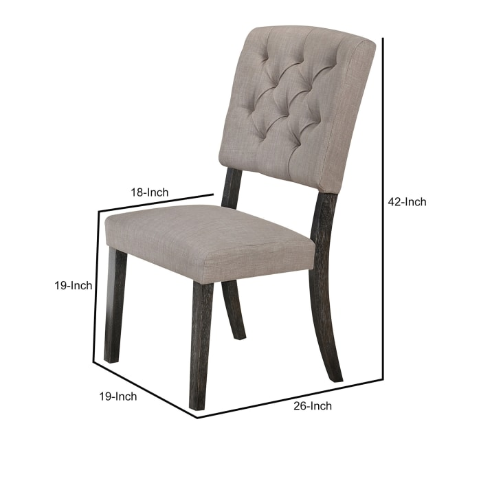 Wooden Side chair with Tufted Back, Set of 2, Brown and Gray
