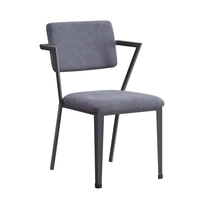 Fabric Upholstered Metal Dining Chair, Set of 2, Gray and Black