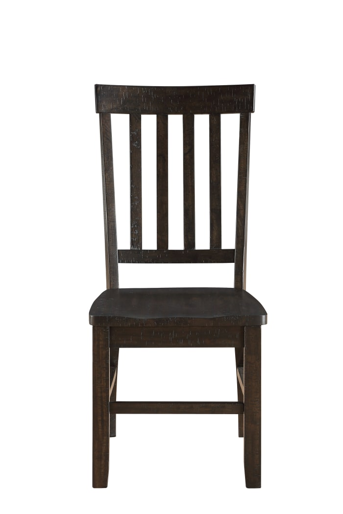 Wooden Dining Side Chairs with Slated Style Back, Set of Two, Brown
