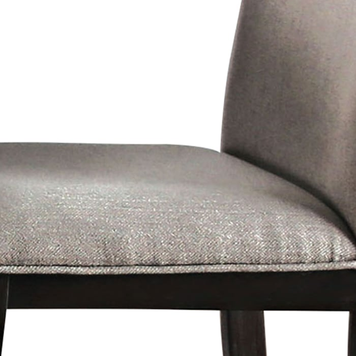 Fabric Upholstered Wooden Side Chair, Set of 2, Beige and Brown