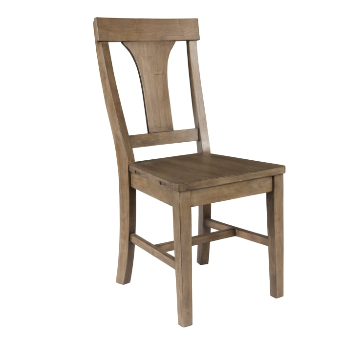 Reclaimed Wood Dining Chair with Fiddle Back, Set of 2,Distressed Gray