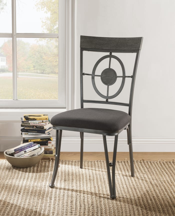 Geometric Open Back Side Chair with Angled Legs, Set of 2, Gray