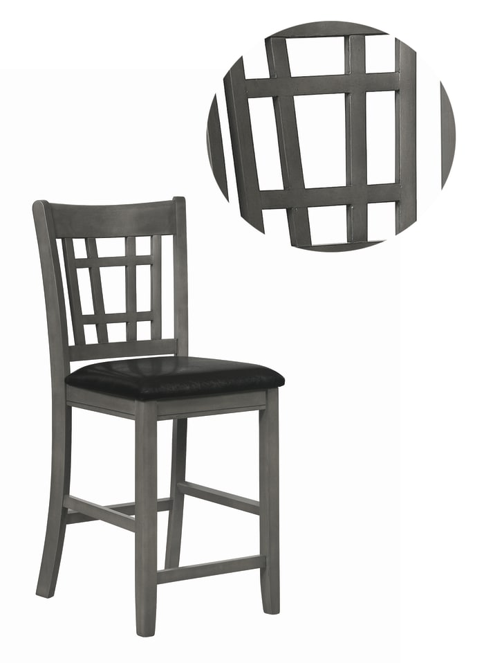Cutout Back Wooden Counter Height Chair with Leatherette Seat, Gray and Black, Set of Two