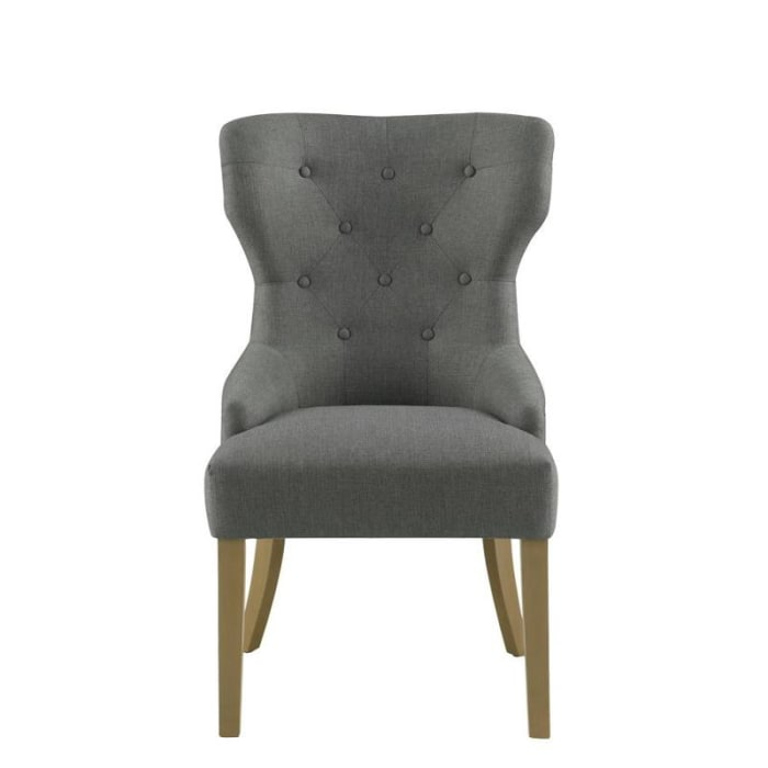 Polyester Upholstered Wooden Dining Chair with Button Tufted Wing Back, Gray and Brown