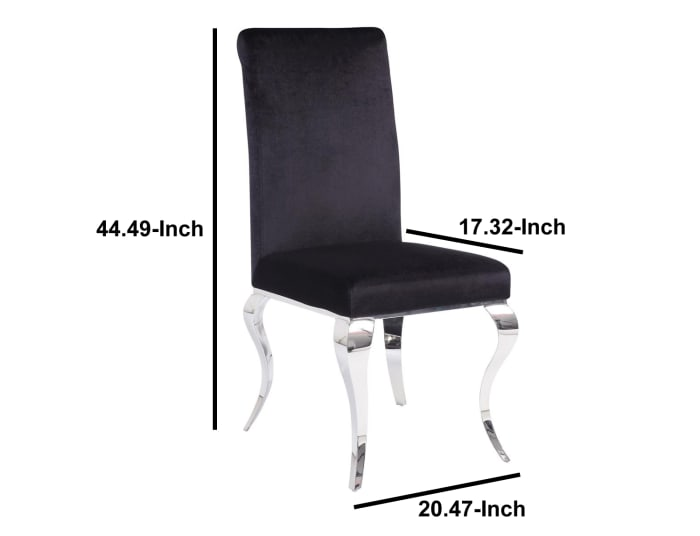 Fabric Upholstered Metal Side Chairs with Cabriole Style Legs, Black and Silver, Set of Two