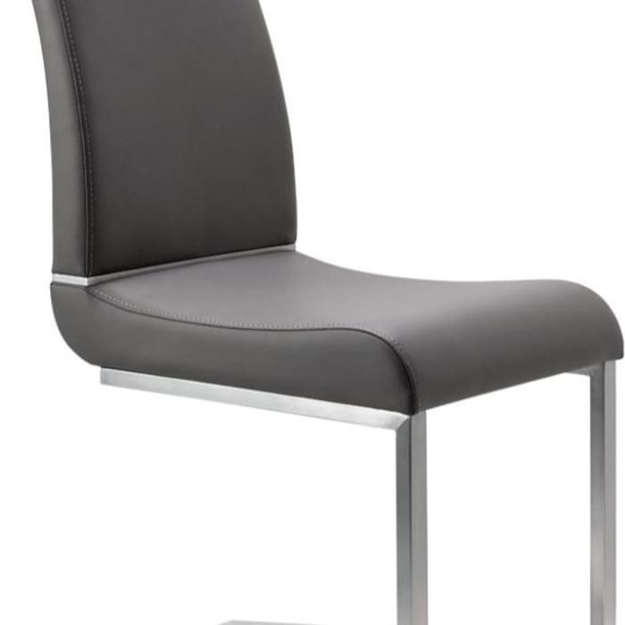 Stainless Steel Chair with Faux Leather Upholstery, Set of Two, Gray and Silver