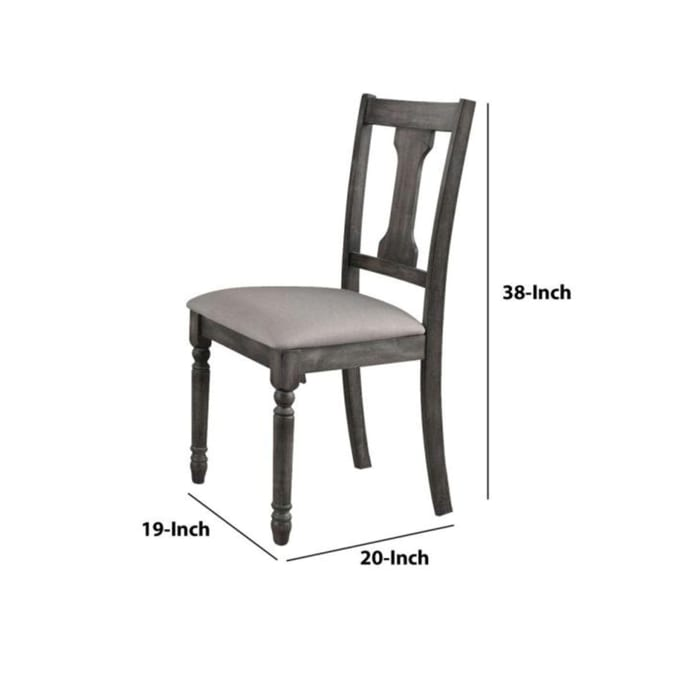 Wooden Side Chairs with Linen Padded Seat and Splat back Design, Gray and Beige, Set of Two