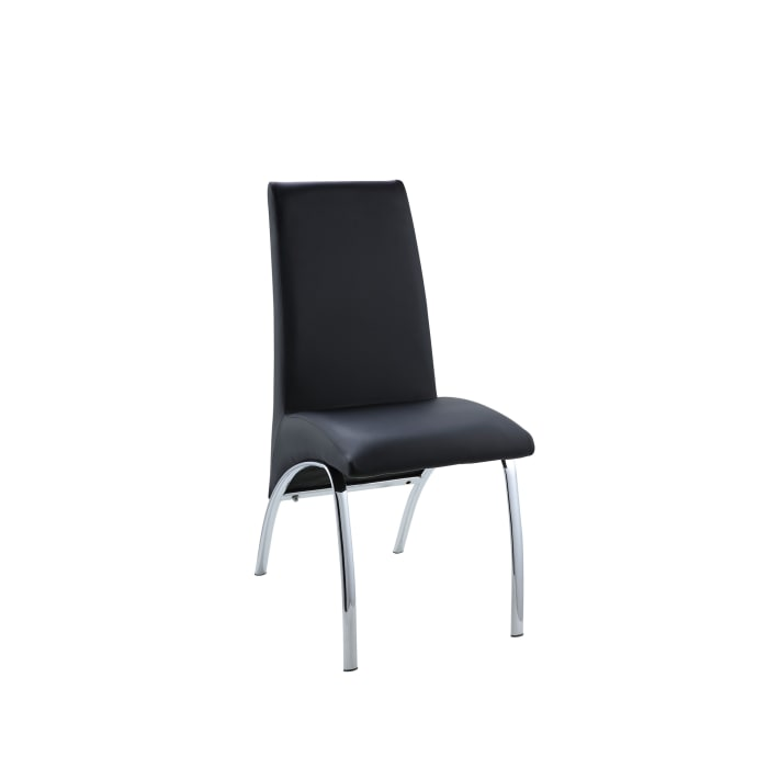 Leatherette Upholstered Side Chairs with Metal Base, Black and Silver, Set of Two