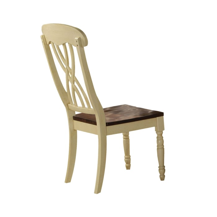 Wooden Side Chair with Overlapped Design Back and Scoop Seat, White and Brown, Set of Two