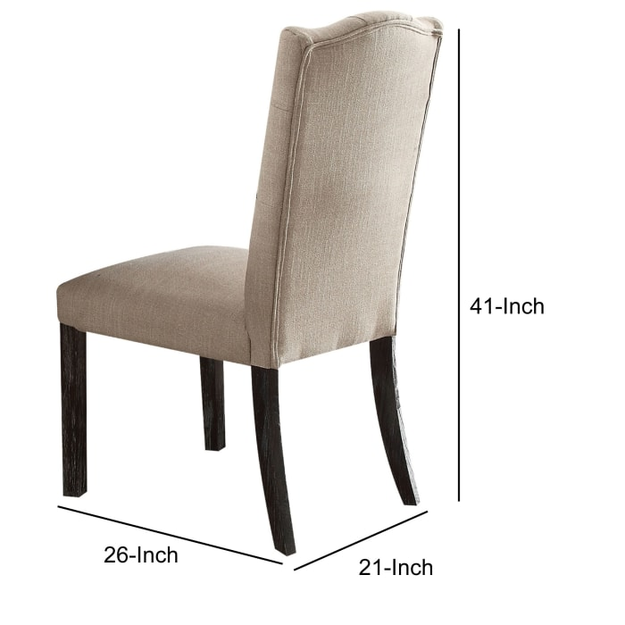 Linen Upholstered Wooden Side Chair with Button Tufting Backrest, Beige and Brown, Set of Two