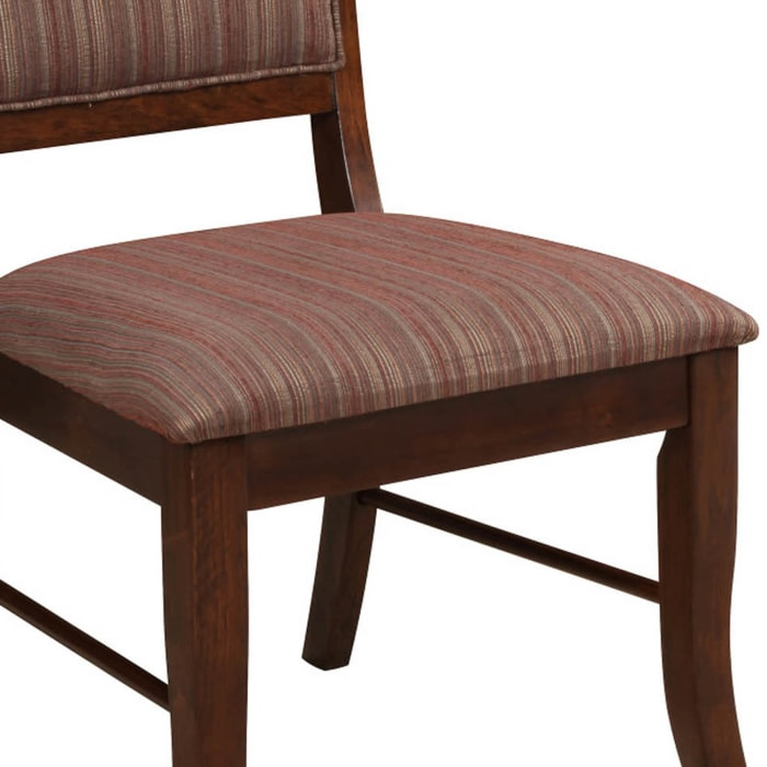 Wooden Side Chair with Fabric Upholstered Seat and Back, Brown, Set of Two