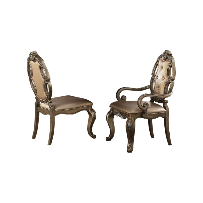 Faux Leather Upholstered Wooden Side Chair Button Tufted Back, Champaign Gold, Set of Two