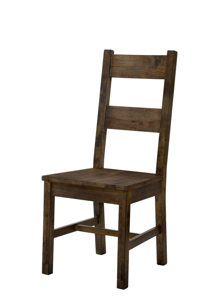 Transitional Style Solid Wood Side Chair with Block Legs, Pack of Two, Brown