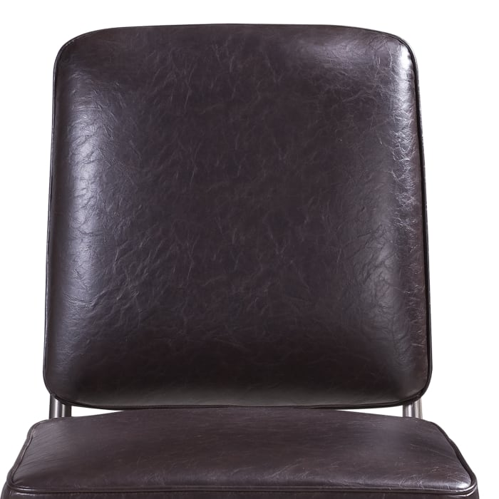 Leather Upholstered Metal Chair with Welting, Set of 2, Brown