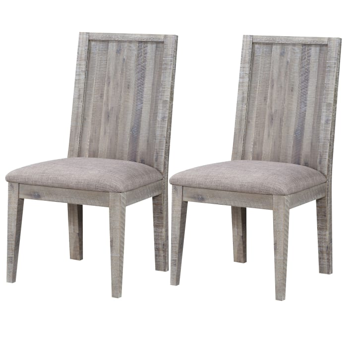 Wooden Chair with Fabric Upholstered Seat, Set of 2, Gray