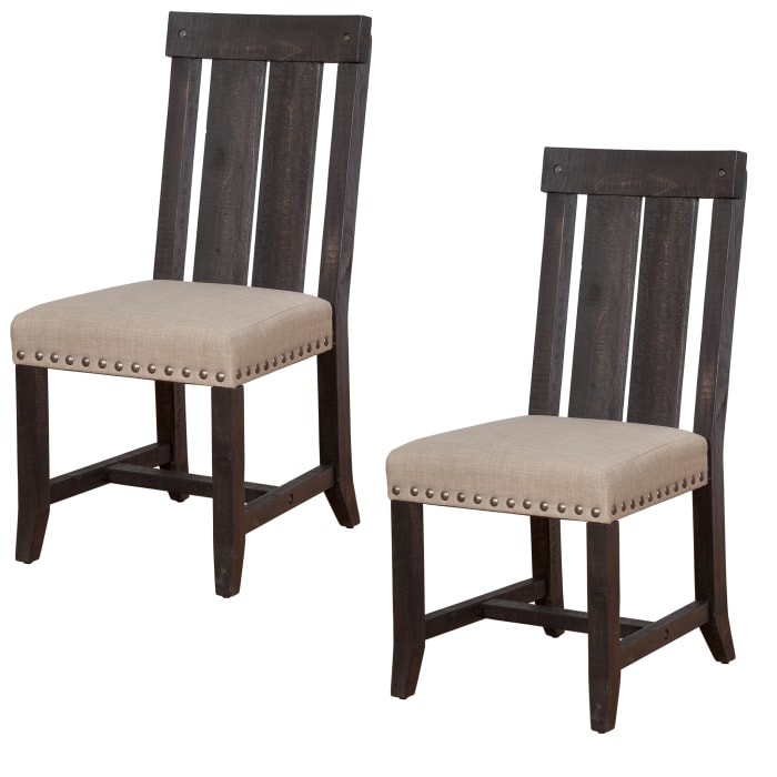 Wooden Chair with Fabric Upholstered Seat and Slat Style Back, Set of 2, Black and Beige