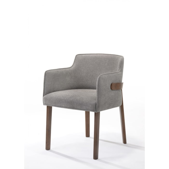 Fabric Upholstered Wooden Dining Chairs, Set of Two, Gray and Brown