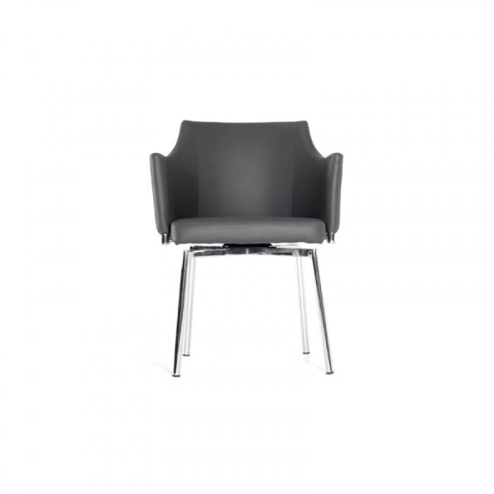 Leatherette Upholstered Swivel Dining Chair with Chrome Metal Legs, Gray