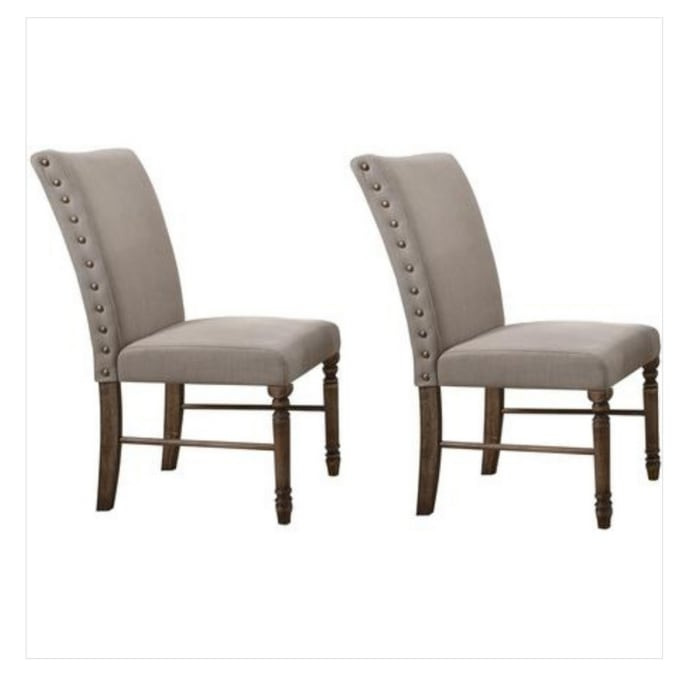 Fabric Flared Back Side Chair with Nailhead Trim, Set of 2, Gray