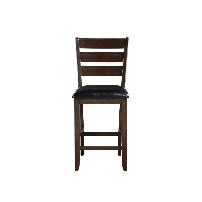 Ladder Back Counter Height Chairs with Leatherette Seat, Set of 2, Brown